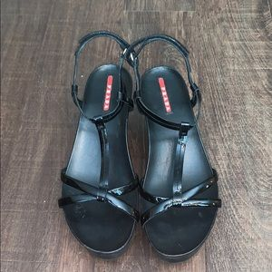 Black Prada Wedges — Size 39